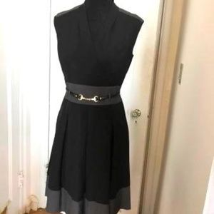 Ellen Tracey black with charcoal sleeveless dress